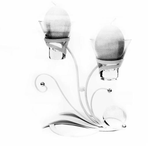 2 Glass Candle Holder Cups | Leo | White