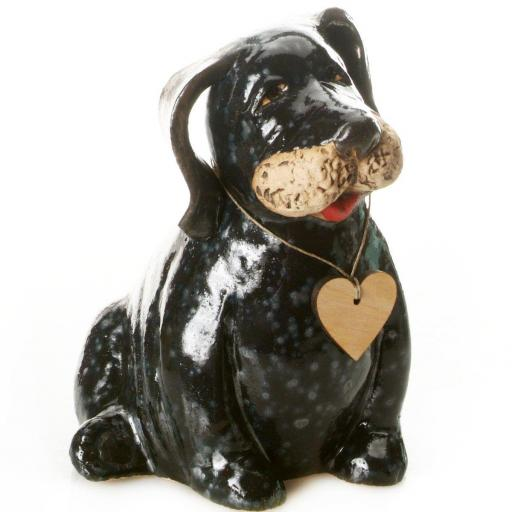 Ceramic Puppy Dog Labrador with Messaging Wooden Heart |Black