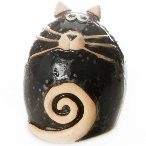 Ceramic Fat Cat Ornament | Black
