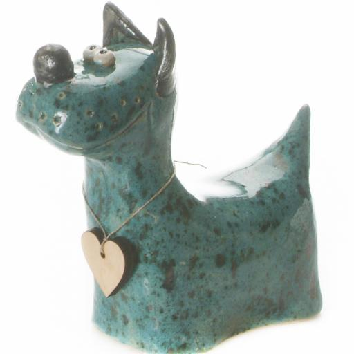 Ceramic Terrier Ornament with Messaging Wooden Heart | Teal