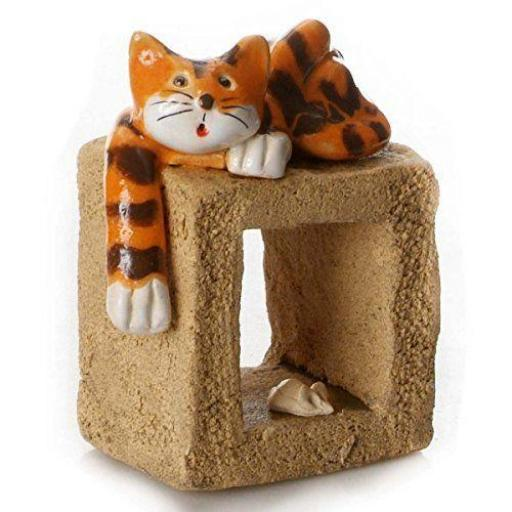 Quirky Cat on a Cube Ceramic | Ginger Cat