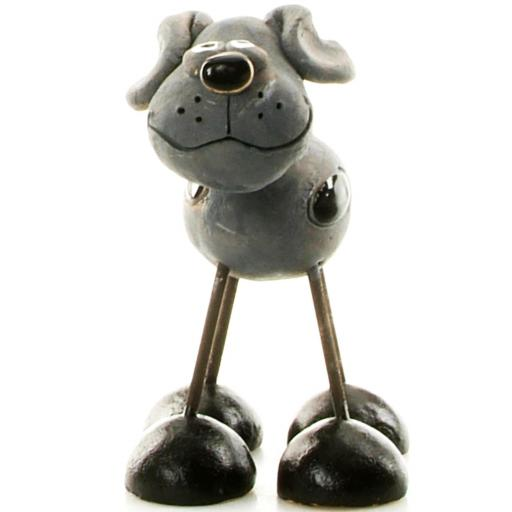 Wire Legs Ceramic Dog | Grey Patches