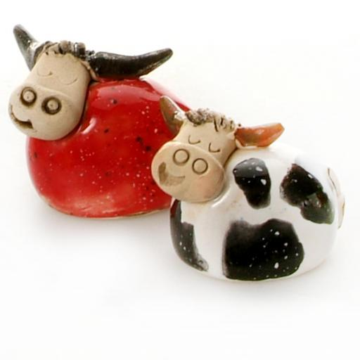 Ceramic Mini Cute Red Highland Cow + Black & White Ciow Figurine | Gift Boxed | A very Cute Pair