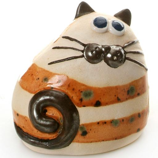 Ceramic Chubby Cat Ornament | Stripey Ginger