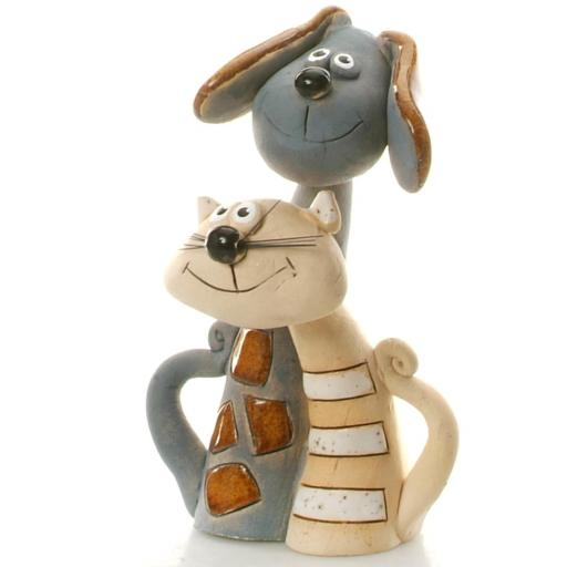 Ceramic Cat and Dog Couple | Grey Dog & White Cat