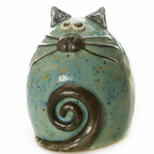 Ceramic Fat Cat Ornament | Turquoise