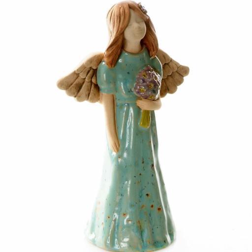 Joyful Ceramic Angel Figurine | Turquoise