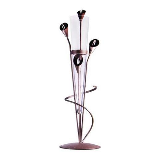 Table Standing Metal Vase with Glass Cone| | 4 Colours