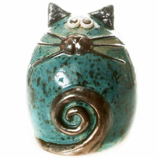 Ceramic Fat Cat Ornament | Teal