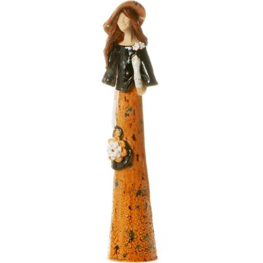 Elegant Lady Ceramic Figurine with a Flower Purse in Ginger and Black   Brown Hat