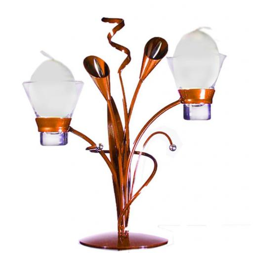 Metal Candle Holder with 2 Glass Cups | Lily | Copper