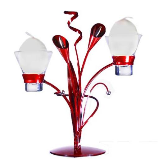 Metal Candle Holder with 2 Glass Cups | Lily | Maroon