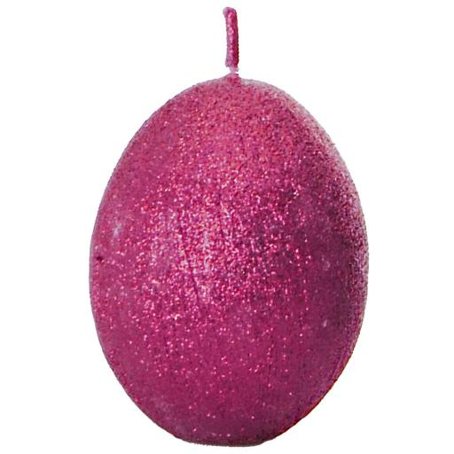 Egg Shaped Candle in Sparkly Pink Cerise Fuchsia