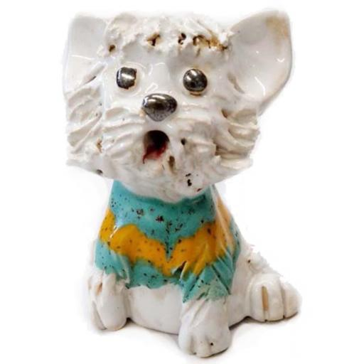 Ceramic White Westie Dog in a Colourful Sweater