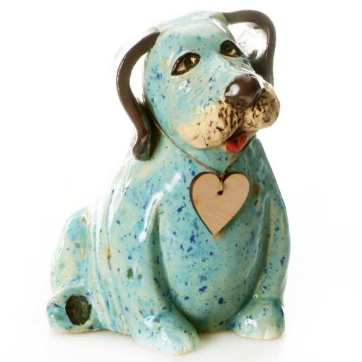 Ceramic Labrador Puppy Dog with Messaging Wooden Heart | Mint