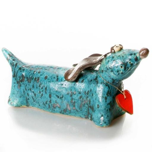 Ceramic Dachshund with Messaging Wooden Heart | Teal