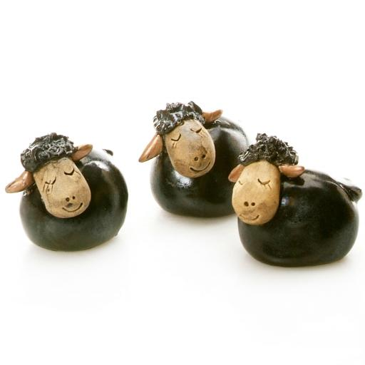 Ceramic Mini Cute Black Sheep Figurine | Gift Boxed