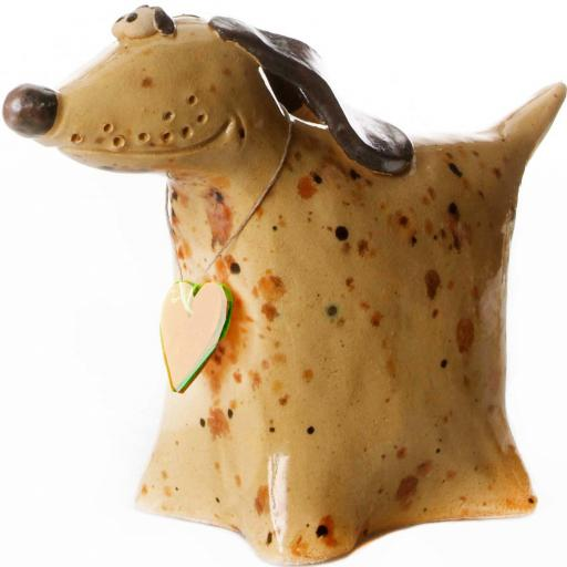 Ceramic Greyhound Ornament with Messaging Wooden Heart Tag | Mustard