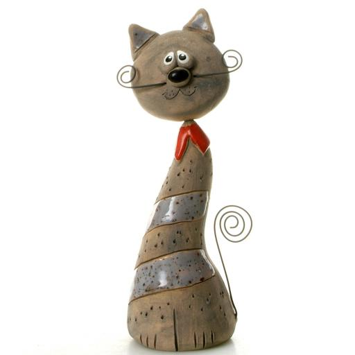 Ceramic Crazy Cat with Wire Whiskers and Tail | 8 Colours