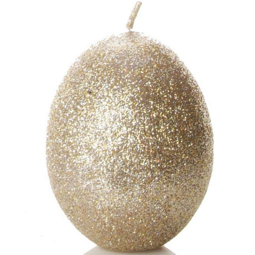 Egg Shaped Candle in Sparkly Pale Gold