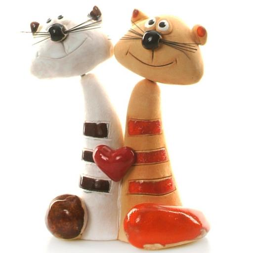 Ceramic Tabby & Ginger Cat with Red Heart |Loving Cats