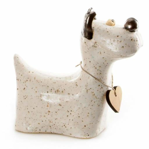 Ceramic White Westie with Messaging Wooden Heart Tag