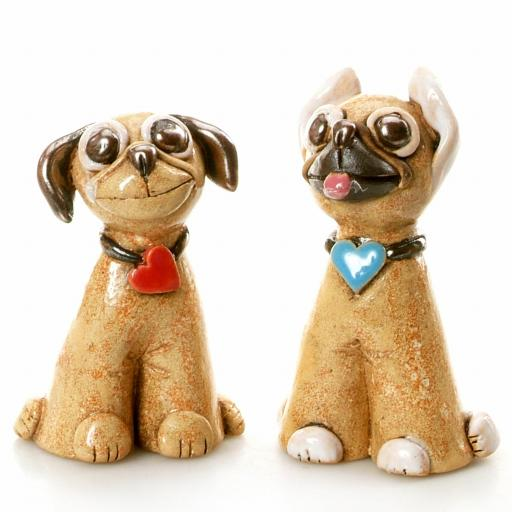 Mr & Mrs Pug a Pair of Quirky Ceramic Pug Dogs | Natural