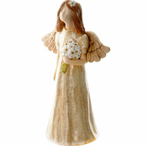 Medium Size Ceramic Angel Figurine Joyful Angel | Taupe