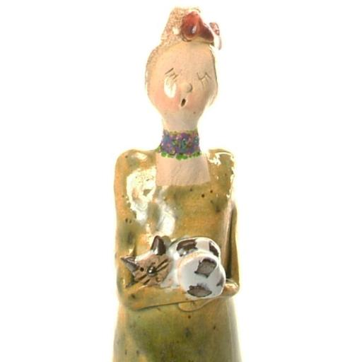 Quirky Ceramic Lady Figurine in Olive with Tabby Cat | Hand Crafted by Anka Christof