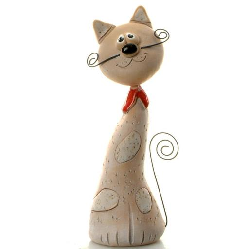 Ceramic Crazy Cat with Wire Whiskers & Tail | White Patches
