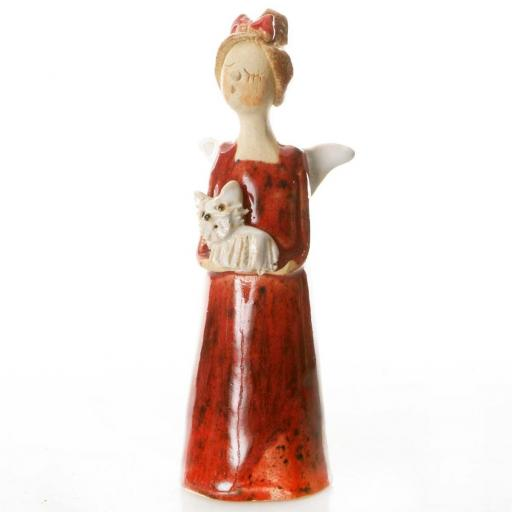 Lucky Ceramic Angel holding White Westie / Red