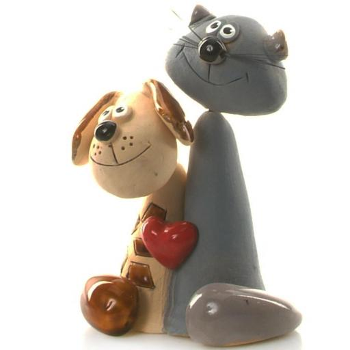 Ceramic Cat and Dog Pair with Red Heart | Grey Cat & Brown Dog