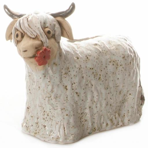 Ceramic Highland Cow Money Bank | White