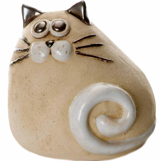 Ceramic Chubby Cat Ornament | Natural