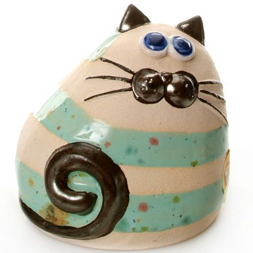 Ceramic Chubby Cat Ornament | Stipey Mint