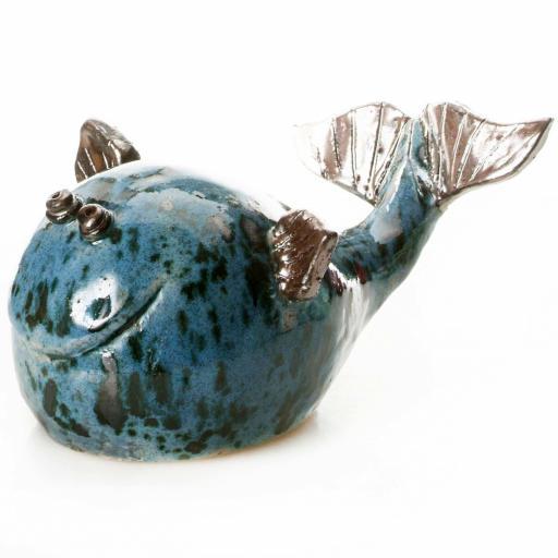 Large Ceramic Whale   Blue