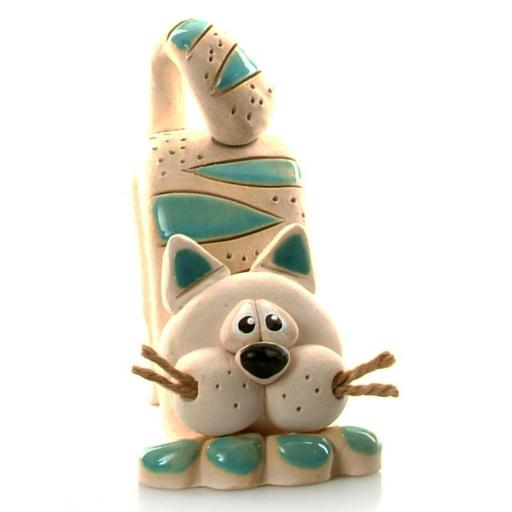 Bent Ceramic Cat with Jute Whiskers | Turquoise Patches