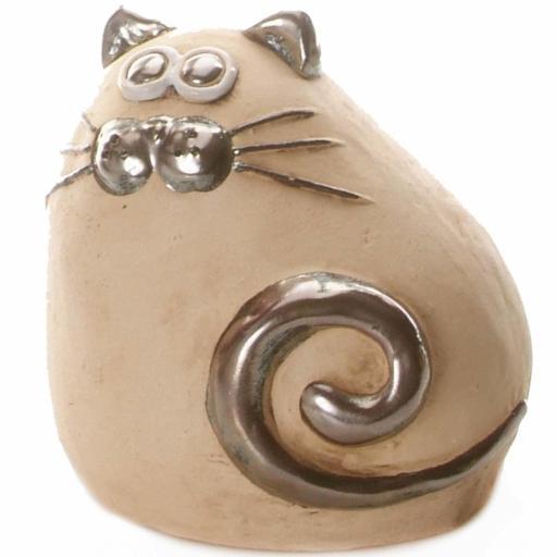 Ceramic Chubby Cat Money Bank | Natural