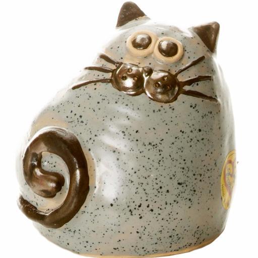 Ceramic Chubby Cat Money Bank | Graphite
