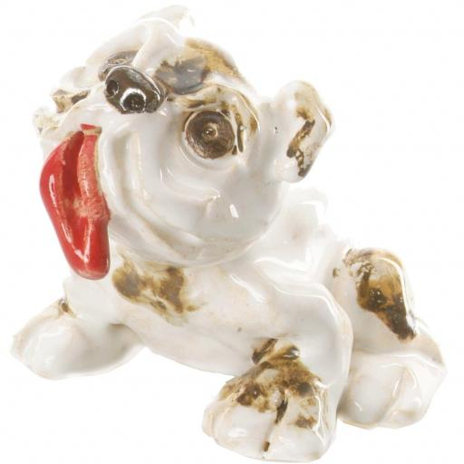 Ceramic English Bulldog Ornament with Red Tongue