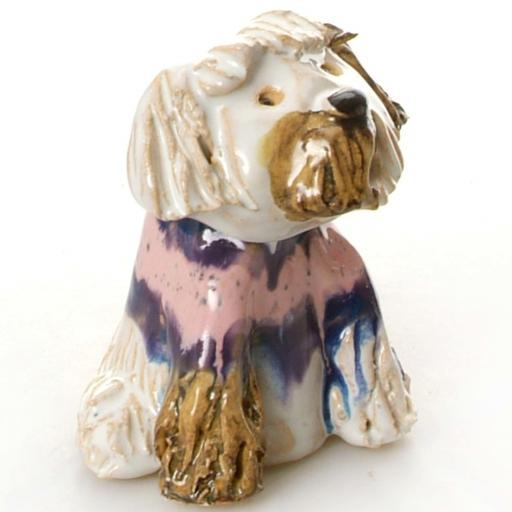 Ceramic Shih Tzu Dog in a Blue Sweater