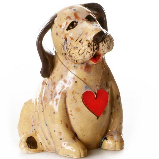 Ceramic Labrador Puppy with Wooden Messaging Heart | Mustard