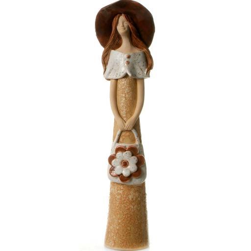 Elegant Lady Ceramic Figurine with Flower Handbag   Beige and Brown