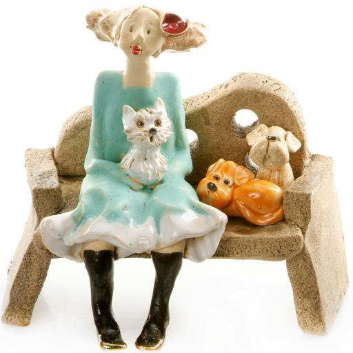 Ceramic Lady Figurine sitting on Bench with 3 Dogs | Ginger Dog, Shih Tzu, Beige Dog