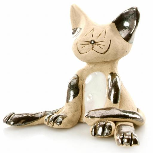 Ceramic Lazy Cat Figurine | Pewter