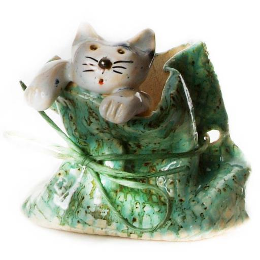 Quirky Cat in a Sack Ornament | Grey Tabby Cat