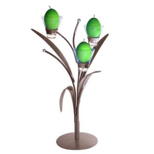 Metal Candle Holder with 3 Leaves and 3 Glass Cups | Ivy leaf | Matt Brown