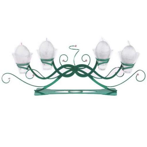 Unusual Table Centre Piece Metal Candle Holder with 4 Glass Cups | Linea | Teal