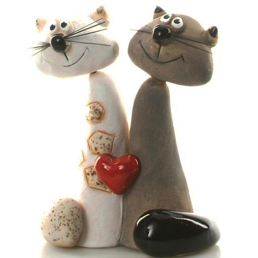 Ceramic Cat Pair Ornament for Cat Lovers | Loving Couple