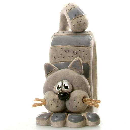 Bent Ceramic Cat with Jute Whiskers | 8 Colours
